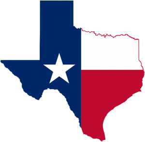 flag on Texas map
